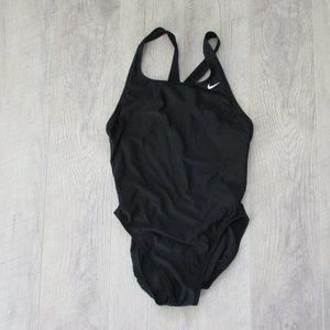 Nike Solid Black Fastback One Piece Swimsuit Size 12